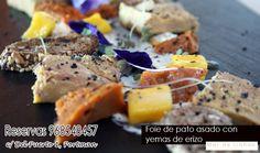 hoy viernes con ganas de fin de semana, te presentamos en Mar de Cañas Restaurante en Portman , y para empezar nuestro foie de pato asado con yemas de erizo ¿ apetece? reserva ya 968548457
