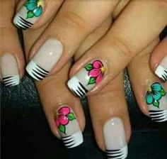 18 Ideas Nails Design Tips Unique Gel Nail Art Designs, Flower Nail Designs, Flower Nail Art, Nails Design, Red Nails, Hair And Nails, Zebra Print Nails, Manicure And Pedicure, Beauty Nails