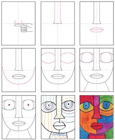 Easy Abstract Art, Abstract Face Art, Abstract Drawings, Art Drawings For Kids, Art For Kids, Geometric Face, Art Visage, Face Painting Tutorials, Picasso Art