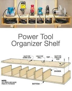 Garage Storage on a Budget - Power Tool Organizer Shelf Want more storage? Than try these DIY garage storage ideas! Get your garage organization done this weekend! Diy Garage Storage, Shed Storage, Storage Ideas, Budget Storage, Kitchen Storage, Wall Storage, Craft Storage, Storage Rack, Diy Shelving