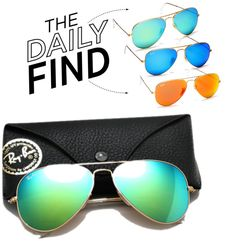 """The Daily Find: Ray-Ban Aviator Mirrored Sunglasses"" by polyvore-editorial ❤ liked on Polyvore"