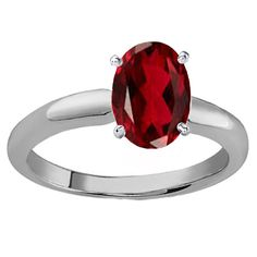 Elora Sterling Silver 1 1/2ct Oval-cut Garnet Solitaire Bridal Ring (Size 6.5, Sterling Silver), Women's, Red