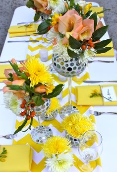 Styling by Decor It Events and Ambrosia Floral Designs, Melbourne  www.decorit.com.au #yellow #chevron #summer #wedding