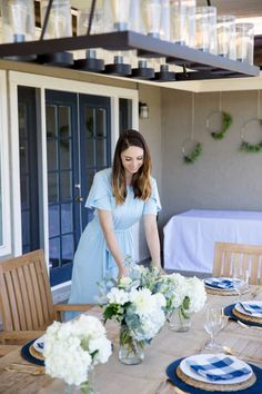 This tablescape setting is one of my favorites! The blue and white checkered pattern paired with the neutral colors of the woven placemats and burlap runner, make this tablescape perfect for almost any event! I love using these items when hosting an event in the spring or summer! Easter Sunday, Easter Brunch, Hosting Easter, Blue and white easter table, Easter table decor, Easter tablescape, Easter decor, Spring table decor, Garden Party decor