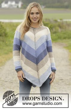 "Ocean Stripes - Knitted DROPS tunic with raglan and stripes, worked top down in ""Nepal"". Size: S - XXXL. - Free pattern by DROPS Design Free Knitting Patterns For Women, Sweater Knitting Patterns, Knitting Stitches, Knit Patterns, Knitting Sweaters, Knitting Tutorials, Knitting Needles, Meme Costume, Tunic Pattern"