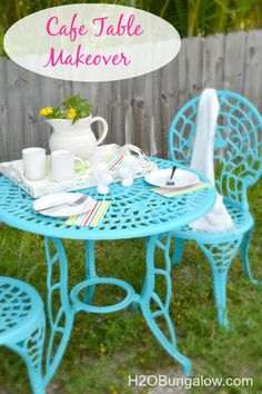 Cafe Table Makeover - From rusty old iron table to bold bright and happy in a day! Transform your rusty furniture, I share tips on to get it done right. www.H2OBungalow.com