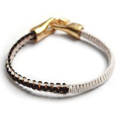 George Frost Cobra Leather Bracelet - WHT/ BLK