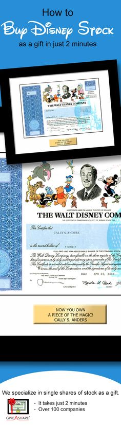 "It's easy to buy one share of Disney stock framed any way you want. Give the gift of true Disney ownership. ""Share"" a piece of the magic! Great gift idea from GiveAshare.com"