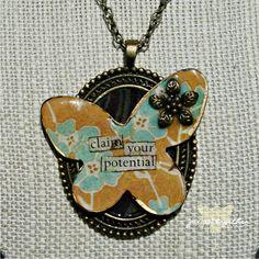 Affirmation Bezel Necklace  30 Chain  by PiecedTogetherArtist, $26.00