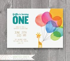 Printable Giraffe Balloon First Birthday by MintedGreyDesigns