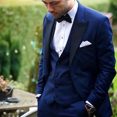 Custom made costume homme One Button Blue Groom Tuxedos Groomsmen Men Wedding Suits Prom Bridegroom suit (Jacket+Pants+Vest+Tie)