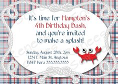 Crab birthday party invitation by @ReneesSoirees