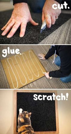 Cat Training Scratching Make a quick and easy DIY scratching post for your cat by gluing a carpet sample to a wooden frame. Diy Cat Toys, Pet Toys, Homemade Cat Toys, Cat Toilet Training, Cat Hacks, Cat Diys, Carpet Samples, Cat Playground, Owning A Cat