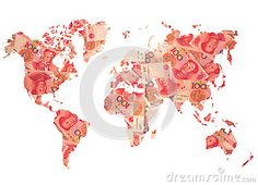 World map made from Chinese yuan bills on white