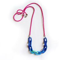 $26  Chunky Chain Polymer Clay Necklace  Blue Mint Pink by AlinaandT  |  Really want this one.