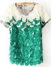 Green Short Sleeve Applique Butterfly Print Blouse $32.42