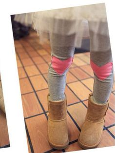 Cutesy! Great idea for those knees that always get holes in them. heart leggings for the little girls
