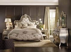 Get inspired by Glam Bedroom Design photo by Embellish Interiors. Wayfair lets you find the designer products in the photo and get ideas from thousands of other Glam Bedroom Design photos. Hooker Furniture, Bedroom Furniture, Furniture Layout, Glam Bedroom, Bedroom Decor, Dark Romantic Bedroom, Fancy Bedroom, Shabby Bedroom, King Bedroom Sets