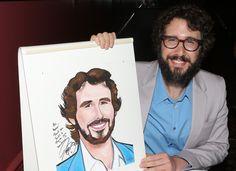 Josh Groban poses with his Sardi's caricature. (Photo by David Gordon)