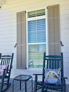 It's easy to enhance your windows with shades, blinds, and plantation shutters . Book us to come out to your home for a free consultation today. Outdoor Chairs, Outdoor Furniture, Outdoor Decor, Exterior Shutters, Shades Blinds, Cape Cod, Window Treatments, Paint Colors, Outdoor Living