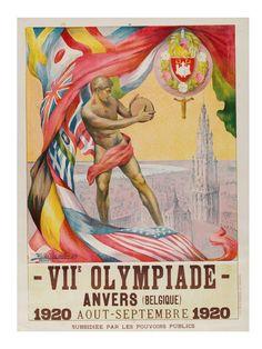 Official poster of the Antwerp, Belgium, Olympics in 1920. By Martha Van Kuyck and Walter Van der Ven & Co.