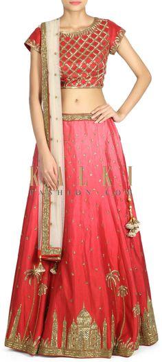 Buy this Maroon lehenga adorn in kardana embroidery only on Kalki