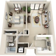 One Bedroom Apartment Design Captivating Beautiful 3D Small House Floor Plans One Bedroom On Budget  Home . Design Inspiration