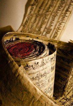 Tibet: old mantra rolls. Buddha Buddhism, Tibetan Buddhism, Buddhist Art, Buddhist Texts, Tibetan Mantra, Tibetan Art, Nepal, Meditation, Tibet