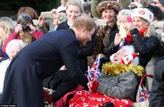 Prince Harry delighted this lady - who is 93 and a half, and  had been waiting for hours - as he stopped and took the time to wish her a Merry Christmas
