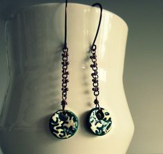 Abstract Ceramic Earrings  Copper Chain  Teal by ContempoJewelry, $28.00
