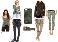 Trend Alert: Camo - love the tank, phone cover, & belt; have the pants!