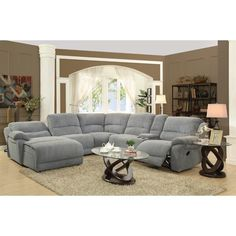 Coaster Mackenzie Silver Reclining Sectional Sofa with Casual Style - Coaster Fine Furniture 6 Piece Living Room Set, Living Room Lounge, Living Room Sectional, Living Room Sets, Sectional Sofa With Recliner, Reclining Sectional, Sleeper Sofa, Couch Sofa, Recliners