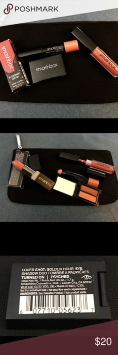 5 pc set! Smashbox Lipstick & Eye Bundle w/ Bag New!  Smashbox Lipstick & Eye Sample Bundle with Free Bag! Bundle contains: Black Smashbox cosmetic bag, Cover Shot Golden Eye Shadow Duo in colors Turned On & Psyched, Be Legendary Lipstick in Do No Wrong Matte, L.A. Lights Blendable Lip & Cheek Color Stick in Silver Lake Sunset, Liquid Lipstick. (No color marked on sample). All pcs are New, never swatched and authentic. Smashbox Makeup Lipstick