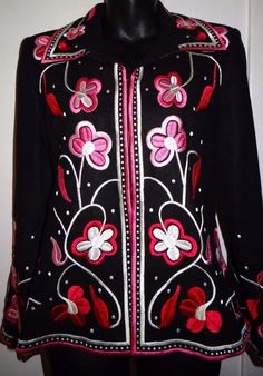 Victor Costa Occasion Floral Print Embroided Shirt Jacket #VictorCosta #Western