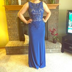 Blue Prom Dress Blue Prom Dress with sequined on top with nude mesh underneath. Comfortable, zipper on the side. Only worn once, in perfect condition. Dresses Prom