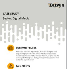 Have a look at this case study on how Bizwin helped a digital media company to overcome their negative impact on sales by identifying their weaknesses and other issues that benefitted the company in so many ways. News Channels, Company Profile, Digital Media, Case Study, Technology, Business, Products, Tech, Tecnologia