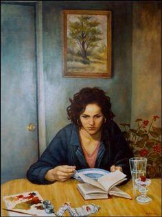 Auto-retrato lendo, s/d  Michelle Ranta (EUA, contemporânea)  óleo sobre madeira, 75 x 90 cm