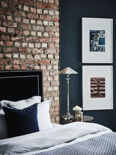exposed brick - bedroom