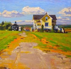 """Yellow House LaConner , oil , landscape painting by Robin Weiss"" - Original Fine Art for Sale - © Robin Weiss"