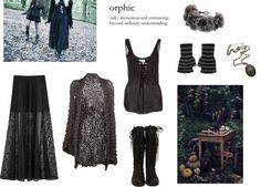 angervenus:  dark mori girls by eatdaisies featuring a lace skirt ❤ liked on Polyvore B s, $2,535 / DKNY lace skirt, $570 / Hinged bracelet / Punk rock glove, $5.02 / Rock N Rose flower headwrap