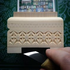 More Than Just Chip Carving © ( Wood Carving Designs, Wood Carving Patterns, Chip Carving, Bone Carving, Wood School, Dremel Carving, Unique Woodworking, Got Wood, Wood Boxes