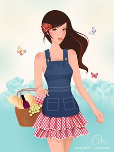 Lifestyle illustration of a girl wearing a romantic Blugirl outfit done in Illustrator CS5: pen tool, gradients, transparenсy, multiply Copyright © Olga Weber It is NOT allowed to use my...