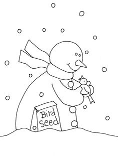 Free Dearie Dolls Digi Stamps: Snowing at my house so here is a little snowman for today. I loved reading all of your cat stories and Christmas trees! Cats are a lot of fun! Our cat is 15 but acts like a kitten. Snowman Coloring Pages, Christmas Coloring Pages, Coloring Books, Christmas Colors, Christmas Crafts, Christmas Trees, Xmas, Hand Embroidery Patterns, Embroidery Stitches
