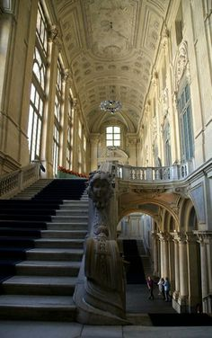 "Turin, Italy magnificent staircase at ""Palazzo Madama"""