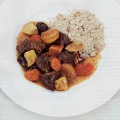 In this recipe, a casserole dish stands in for the traditional tagine. Serve with couscous or an Israeli salad of tomato, cucumber, and sweet onion.