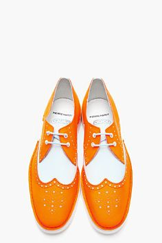 PIERRE HARDY Neon Orange Colorblock BY10 Wingtip Brogues