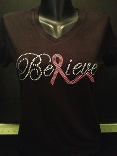 Believe with Pink Ribbon V-Neck Bling Shirt - Breast Cancer Awareness Shirt