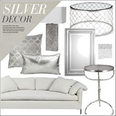 Silver Home Decor by kathykuohome on Polyvore featuring interior, interiors, interior design, home, home decor, interior decorating, Radley, JEM, Abella and Silver