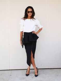 Pin for Later: Over 50 Must-See Street Snaps From Sydney Fashion Week Street Style at Sydney Fashion Week A little slit went a long way in this slick black and white look.