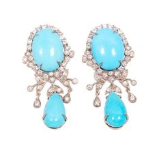 Stunning Turquoise and Diamond Chandelier Earrings in 18ct white gold.